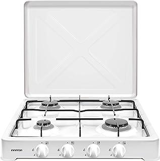 INFINITON Cuisinière à gaz portable GGP-4F (4 feux, 50 cm de large, réchaud à gaz, brûleurs amovibles, gaz pour camping, s...