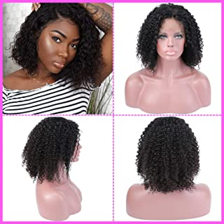 AMZTMY 12 Inch Short Curly Bob Human Hair Lace Front Wigs with Baby Hair Pre Plucked Natural Hairline Brazilian Deep Curly 13x4 Lace Front Human Hair Wigs for Black Women