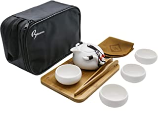 June Fox 8 Pcs Portable Travel Tea Set Vintage Chinese/Japanese Style Porcelain Handmade Kung Fu Tea Set with a Travel Bag (4 Cups)