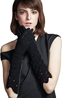 FIORETTO Womens Warm Elbow Gloves Winter Leather Gloves Long Beautiful Patterns