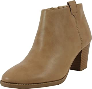 Soda Women's Zenith Faux Leather Cowboy Western Round Toe Chunky Heel Pull On Tab Ankle Boot, Black, 9 M US (Taupe, 10 M US Women)