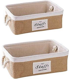 æ— Lot de 2 paniers de rangement en tissu avec poignées en corde de coton pour la maison, la cuisine, la buanderie, la sal...