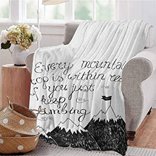 Luoiaax Motivational Bedding Microfiber Blanket Sketchy Mountains Hand Writing Style Letters Purpose Determination Success Super Soft and Comfortable Luxury Bed Blanket W57 x L74 Inch Black White