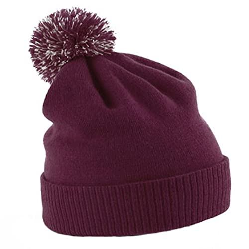 Beechfield Unisex Snowstar Duo Winter Knit Beanie Bobble Hat 5940e7f3c4d