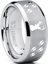 Metal Masters Co. 9MM Sating Finish/High Polish Deer Track Titanium Ring Wedding Band, Outdoor Jewelry, Men's Hunting Ring
