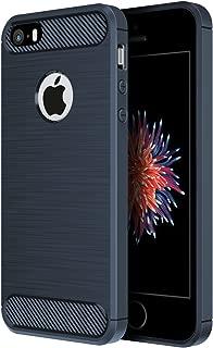 iPhone SE 対応 ケース Simpeak ラギッド アーマー SE/5S/5 炭素繊維カバー TPU保護バンパー 弾力性付き (ダークブルー)