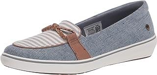 حذاء نسائي مسطح بدون كعب من جراسوبرز ويندسور عقدة من نسيج متنوع، أزرق شامبرا، مقاس 6 ضيق أمريكي