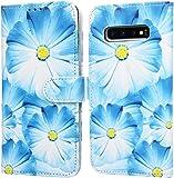 F�r Samsung Galaxy S10 Plus H�lle Lader Tasche PU Lader H�lle Gemalt Muster Flip Brieftasche Kartenhalter Magnetschnalle St�nder Sto�fest Kratzfest Sto�stange Handyh�lle Blaue Blume