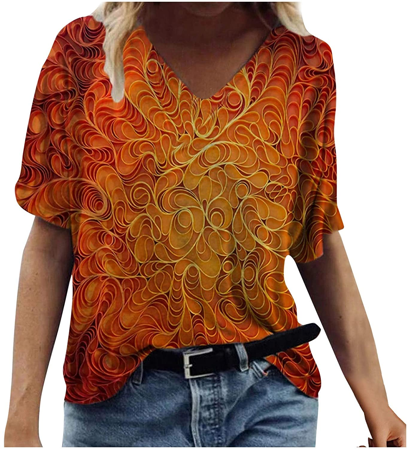 POLLYANNA KEONG Plus Size Tops for Women 3/4 Length Sleeves,Womens Tops V Neck Summer Floral Printed Casual Tshirts