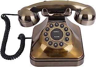 $56 » Retro Landline Phone, Antique Bronze Wired Telephone, Desktop Corded Phone for Home Decoration Props