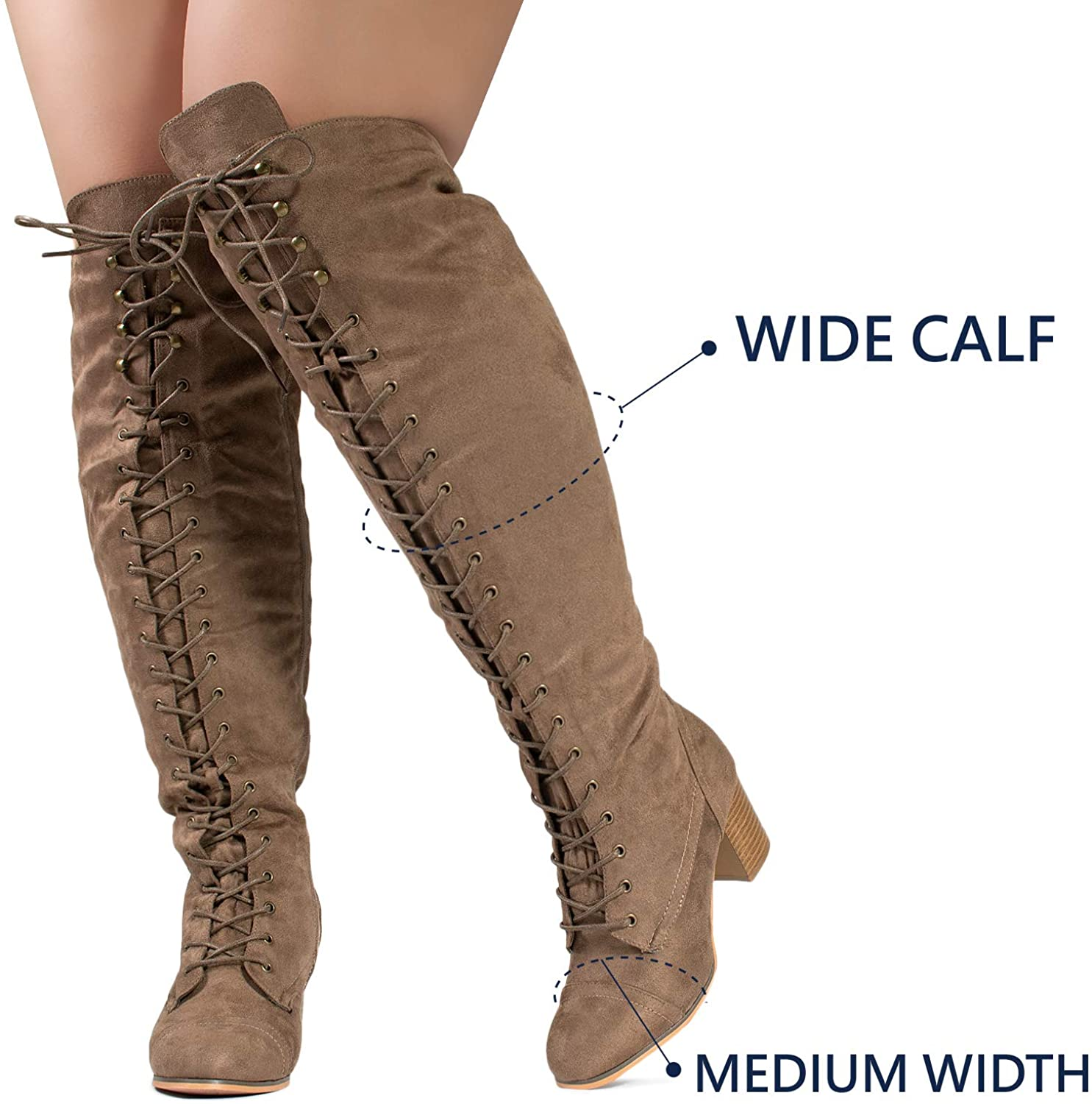 1940s Women's Footwear RF ROOM OF FASHION Womens Wide Calf Block Heel Lace Up Over The Knee Riding Boots  AT vintagedancer.com