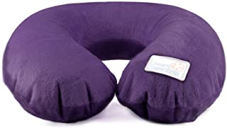 Inflatable Travel Neck Pillow, U-Shape with Washable Soft Cover (Purple)