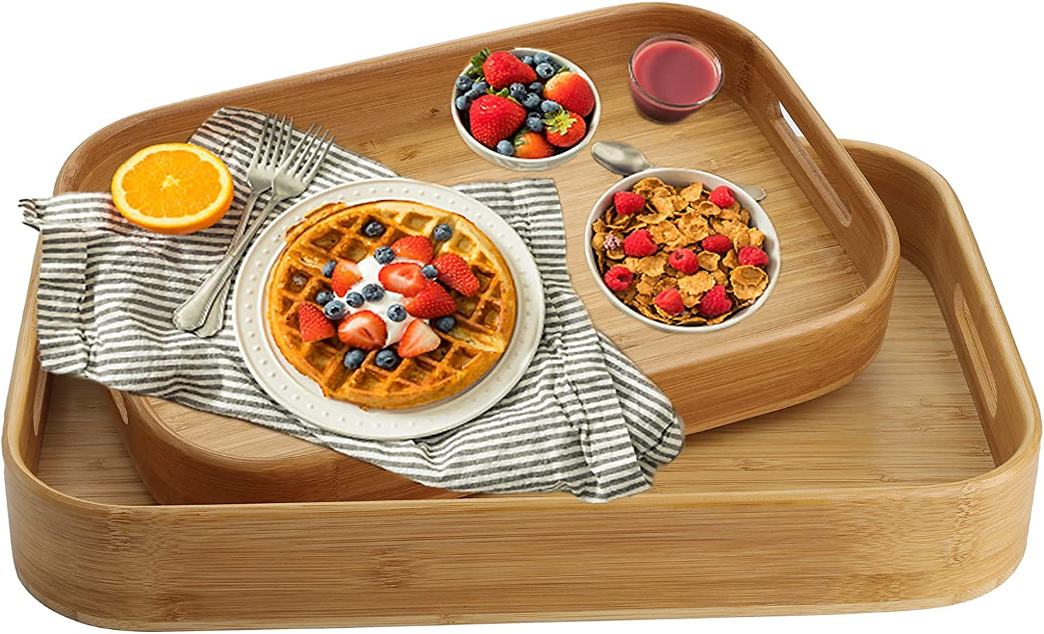 Dicunoy Set of 2 Bamboo Serving Tray, Solid Wood Breakfast Tray with Handles, Large Bamboo Food Tray Great for Dinner, Tea, Coffee, Bar, Parties, 15.6