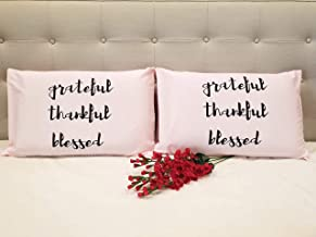 American Pillowcase Cotton Inspirational Printed Grateful Thankful Blessed Pillow Cover Set Of 2 Standard Size, Pink
