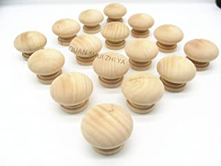 16PCS Round Wood Unfinished Cabinet Furniture Drawer Knobs Pulls Handles