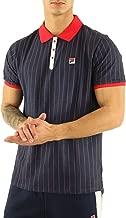 Fila Mens Vintage White or Cream Tapioca BB1 Stripe Tennis Polo Shirt