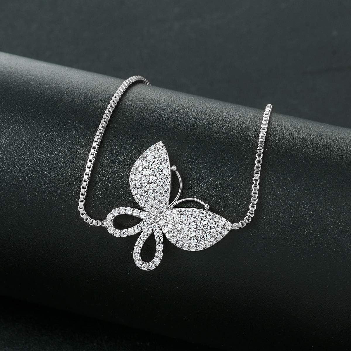 WeimanJewelry Love Gift Cubic Zirconia CZ Bridal Butterfly Adjustable Bracelet for Women