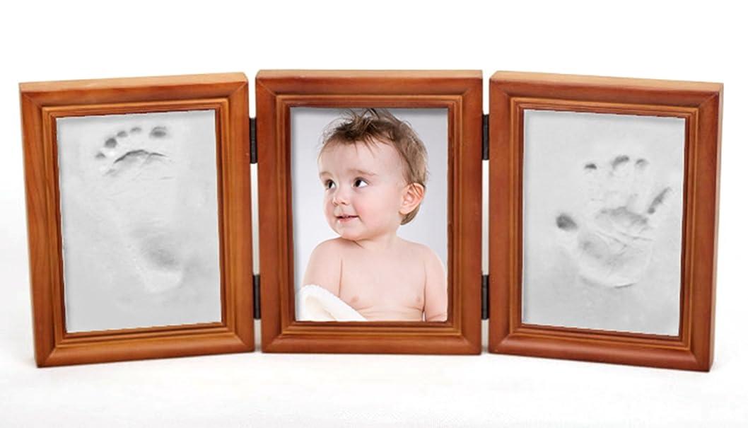 ジョリーそれら登る赤ちゃんの手形やフットプリント品質ウッド記念品フレームキットのためのキットデラックス鋳造プレシャスベイビー (ライトブラウンフレーム)