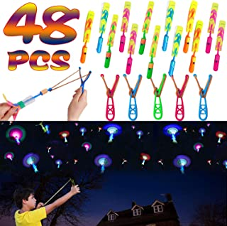 48 Pcs Light Up Slingshot Rockets Halloween Glow in The Dark Party Favors for Kids, LED Helicopters Arrow Rocket Helicopter Flying Toy Outdoor Game Holiday Party Supplies (24 Slingshot + 24 LED Rocket