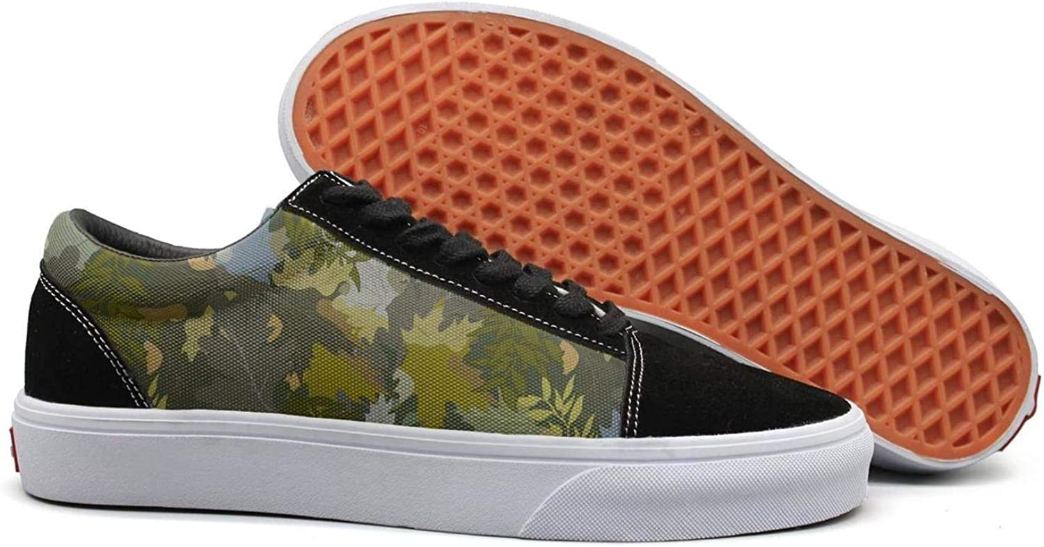 Green Military Leafy Camo Womens Lace up Loafers shoes Canvas Upper