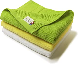 TANGONO 今治タオル とにかく乾きやすいタオル [ コンパクトバスタオル 3枚組セット ] 小さめ サイズ 44×100cm 速乾 吸水 日本製 ギフト (ライトグリーン×イエロー×ホワイト)