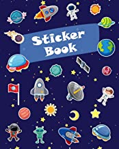 Sticker Book: Space Rockets Planets Icons Blank Sticker Book for Boy Collection Notebook Page Size 8x10 Inches 80 Pages Ch...