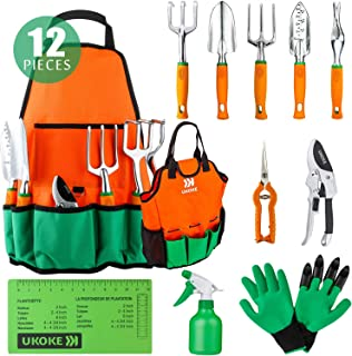 UKOKE Garden Tool Set, 12 Piece Aluminum Hand Tool Kit,...