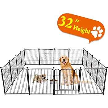 """TOOCA Dog Pen 16 Panels 32"""" Height RV Dog Fence Playpens Exercise Pen for Dogs, Metal, Outdoor, Protect Design Poles, Foldable Barrier with Door, Black"""