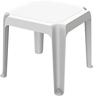 Cosmoplast Plastic Low Square Table for Indoors and Outdoors - White