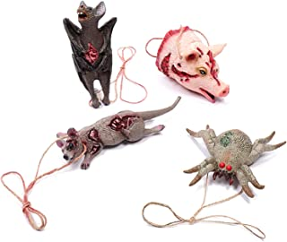 Halloween Decorations Fake Bat Mouse Spider Pig Head Animal Shape Scary Necklace Halloween Makeup Party Props, Spoof Fake Bloody Animal Model (Four in One)