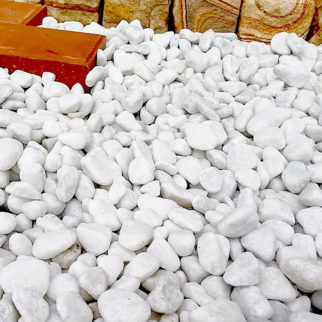 夜カーペット耳天然石 玉石砂利 1-2cm 500kg スノーホワイト (ガーデニングに最適 白色砂利)