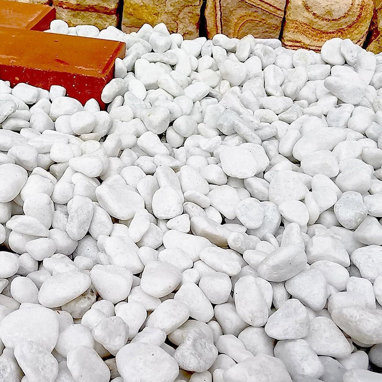 かどうか胃会社天然石 玉石砂利 1-2cm 140kg スノーホワイト (ガーデニングに最適 白色砂利)