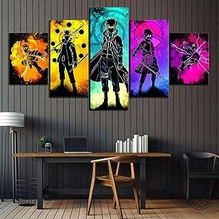 5 شخصيات انيمي الروح ناروتو، ملصق قماش جداري لغرف النوم على شكل شخصيات انيمي، لوح للديكور من ار تيويهن