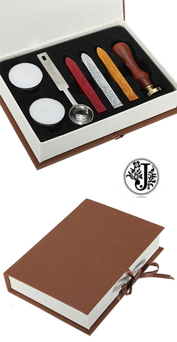 Gift Pro European Retro Wooden Alphabet Letter Initial Wax Seal Stamp Kit Vintage Letter/Envolop Wax Sealing Set with Gold Red Silver Sticks (J)