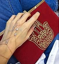 Gold Zirconia Arrow Slave Bracelet Hand Chain Genuine 925 Sterling Silver