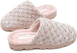 COFACE Zapatillas De casa Para Mujer Invierno Pantuflas de Forro de Felpa Cálidas de Punto de Lana Zapatos de Espuma Visco...