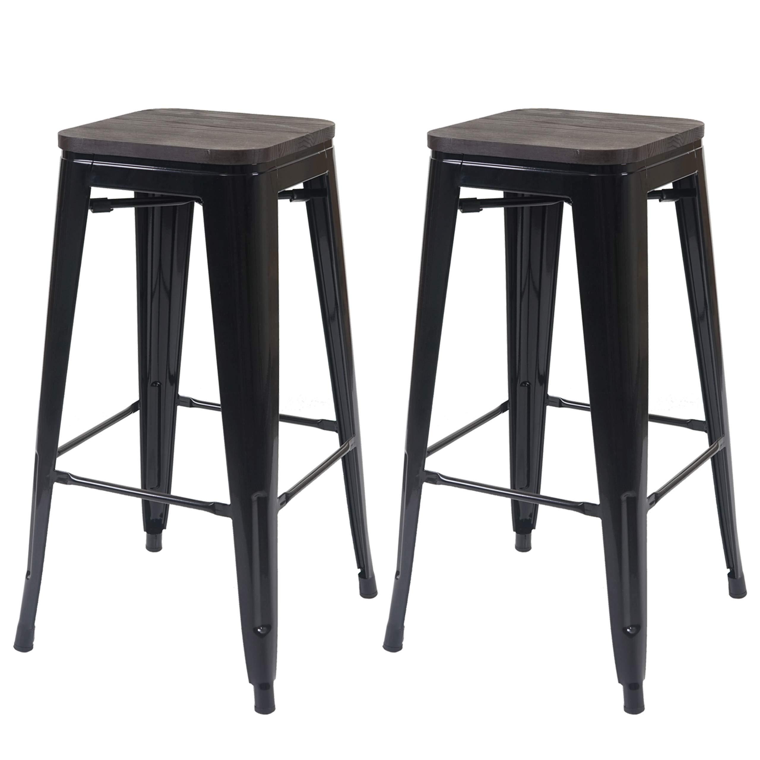 2x Tabourets de Bar Chaise de Bar Métal Repose Pieds Industriel Cuisine Bistrot