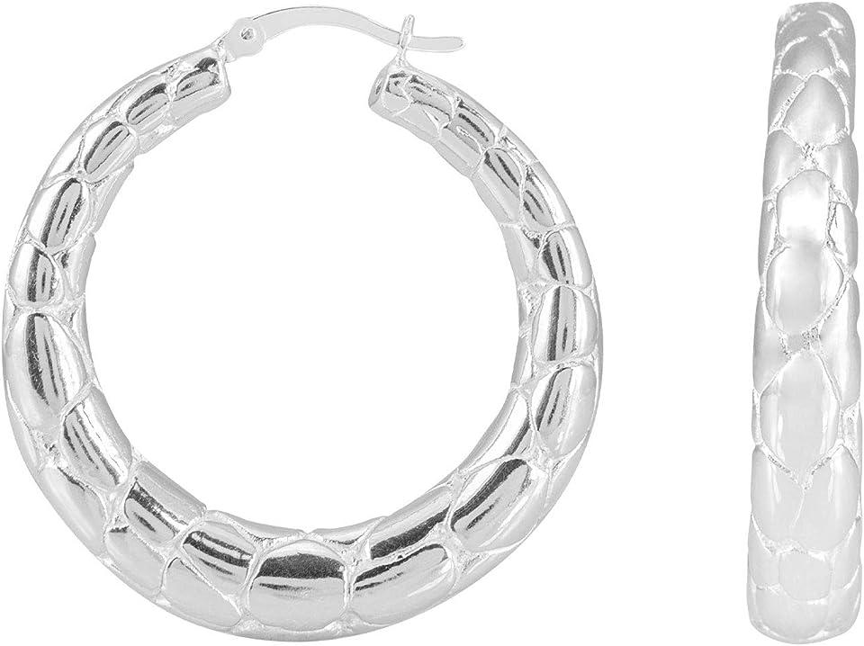 1 3/8 Graduated Nugget Style Hoop Earrings Real Sterling Silver 925