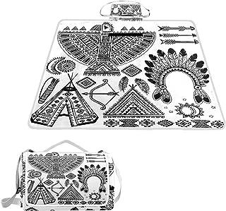PATINISA Extra stor picknickfilt, indianer fjäder pannband etnisk tipi tält pilbåge konst vattentät vikbar utomhusfilt str...