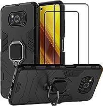 QCMM for Xiaomi Poco X3 NFC/Xiaomi Poco X3 Kickstand Case with Tempered Glass Screen Protector [2 Pieces], Hybrid Heavy Du...