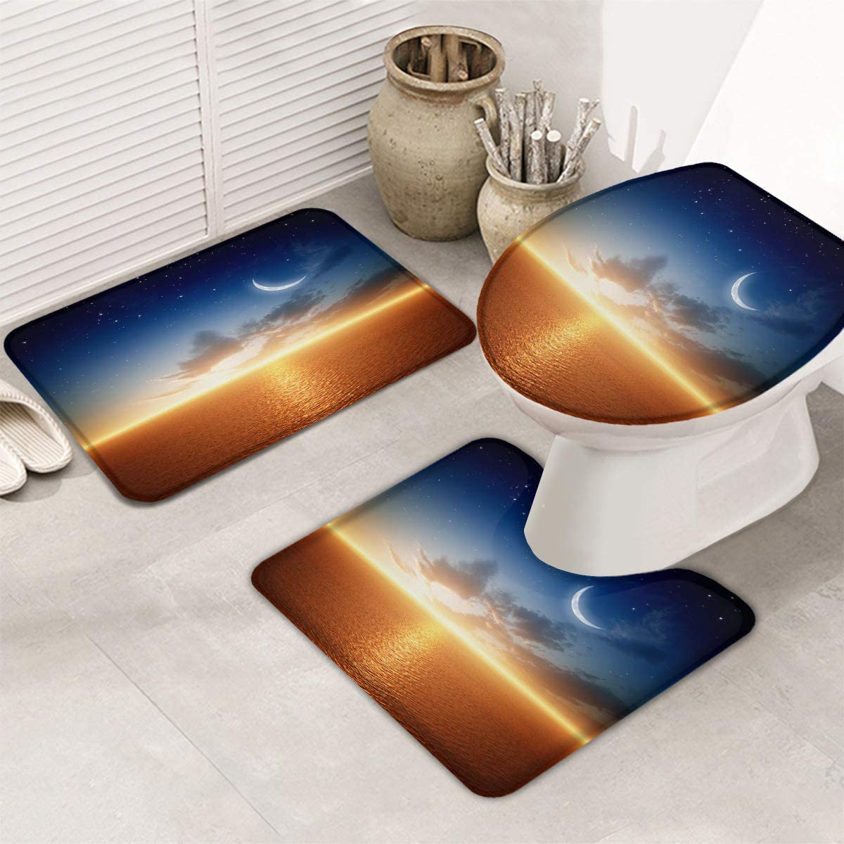 Fangship 3 Piece Bathroom Max 61% OFF Rugs Set Non for Limited Special Price Mats Sl Bath