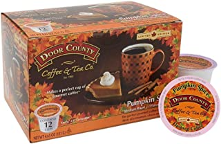 Door County Coffee, Single Serve Cups for Keurig Brewers, Pumpkin Spice Flavored Coffee, Medium Roast, Ground Coffee, 12 Count