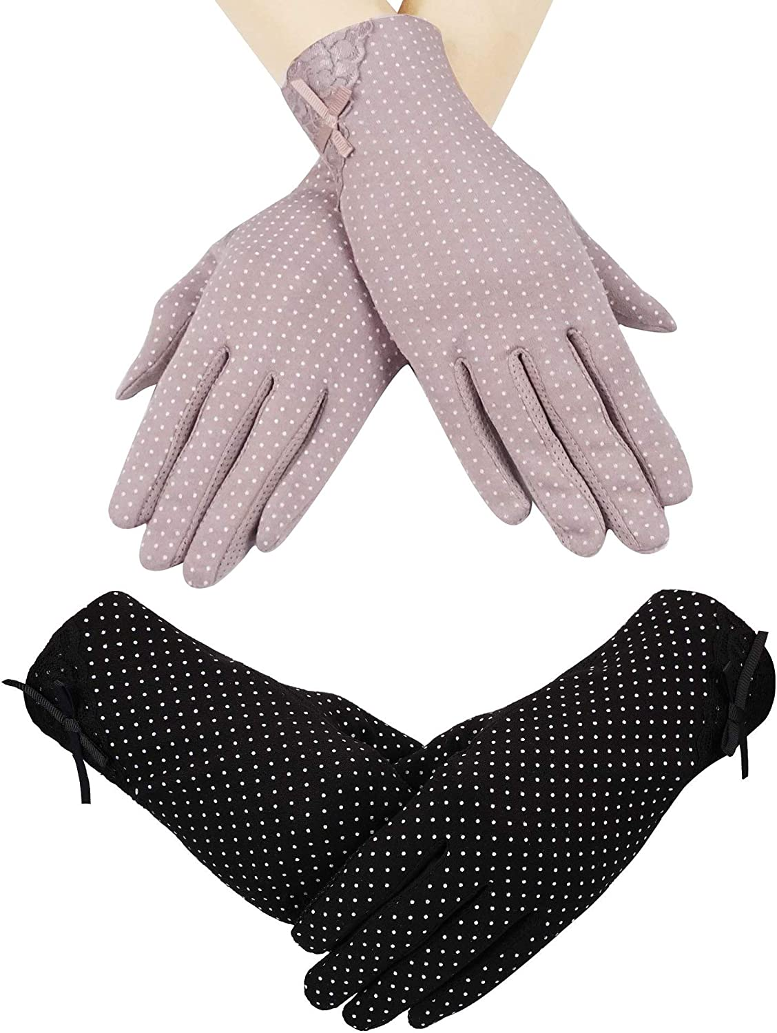 2 Pairs Women Sun UV Protection Gloves Wrist Length Sunblock Gloves Touchscreen Gloves for Summer Driving Riding
