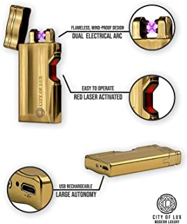 Luxury Cigar Lighter – Dual Arc Classic Lighter by City of Lux – USB Rechargeable – Flameless & Windproof – LED Indicator – Large Autonomy – Elegant Design – Original Gift for Men – Gift Box Included