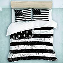 MOASTORY 3 Piece Duvet Cover Set, Black and White Monochrome Gamut Grunge Aged American Flag Background, Decorative Bedding Set, Queen Size