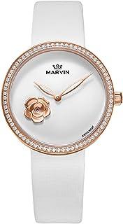 レディース スイス製クォーツムーブメント腕時計 中空針 ローズゴールド 33mm バレンタインデー用 ホワイト
