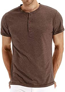 Henley Mens Tshirts Polo Cotton Short Sleeves Slim Fit Vintage Casual Tops Tees
