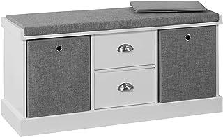 comprar comparacion SoBuy FSR66-HG Zapatero Banco con 2 cajones y 2 cestas,Banco con almacenaje,L100 x P35 x H50cm,ES
