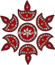 BDS CREATIONS 059 RED Designer Handcrafted Decorative Diwali Rearrangable Kundan Rangoli for Floor Decoration Set of 7pcs