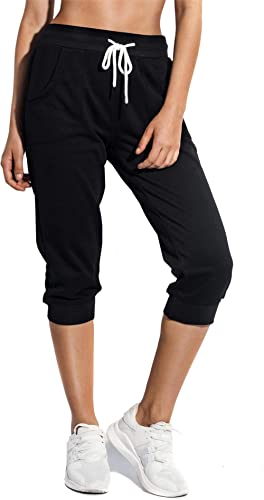 SPECIALMAGIC Women's Sweatpants Capri Pants Cropped Jogger Running Pants Lounge Loose Fit Drawstring Waist with Side ...